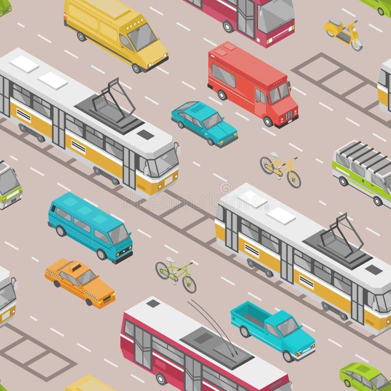 Sömlös modell med motorfordon av olika typer på vägen - bil, sparkcykel, buss, spårvagn, trådbuss, skåpbil Bakgrund med vektor illustrationer