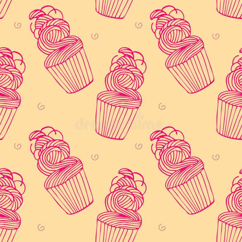 Sömlös modell med muffin i hand dragen retro stil vektor illustrationer