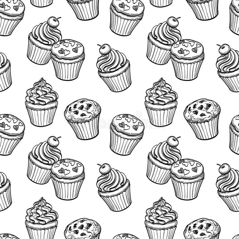 Sömlös modell med muffin och muffin vektor illustrationer