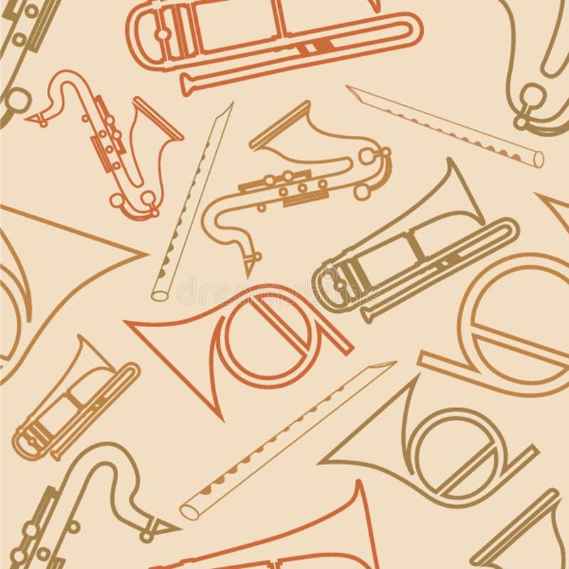 Sömlös modell med musikinstrumentet royaltyfri illustrationer
