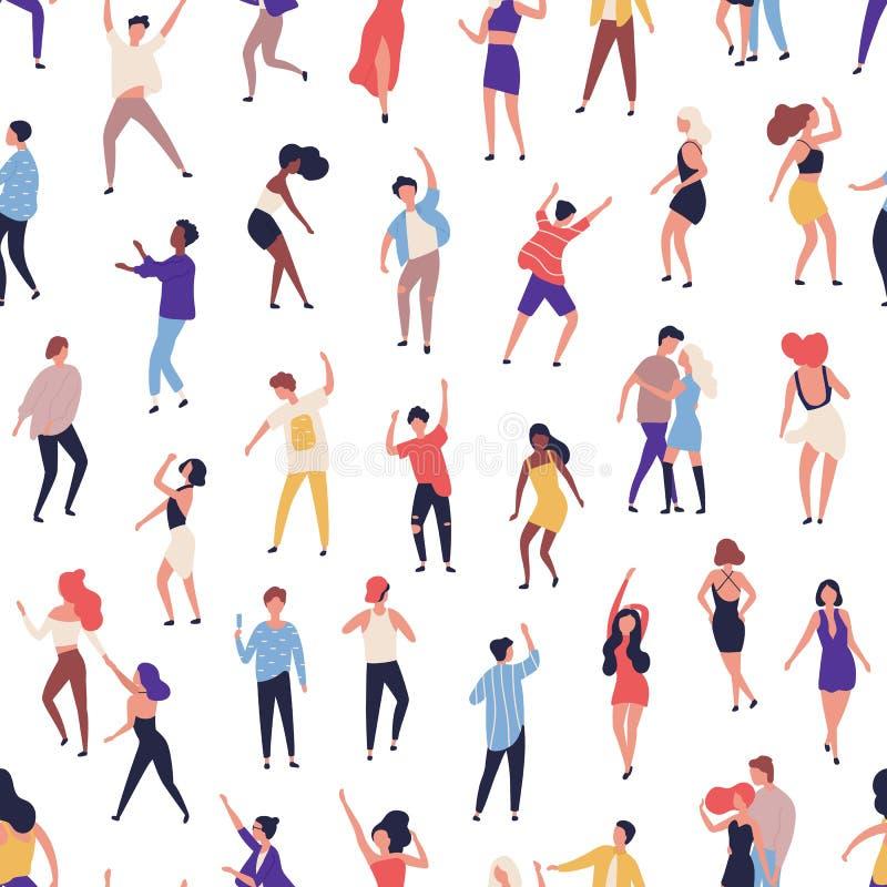 Sömlös modell med mycket litet folk som dansar på dansgolv på nattklubben på vit bakgrund Bakgrund med lyckligt av män vektor illustrationer
