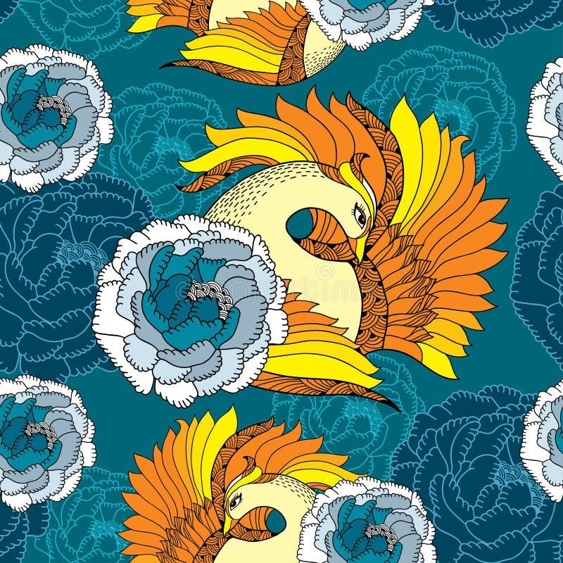 Sömlös modell med mytologiska Firebird i apelsin och krysantemum stock illustrationer