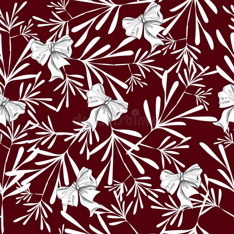 Sömlös modell med nätta blommor för wight på rött vektor illustrationer
