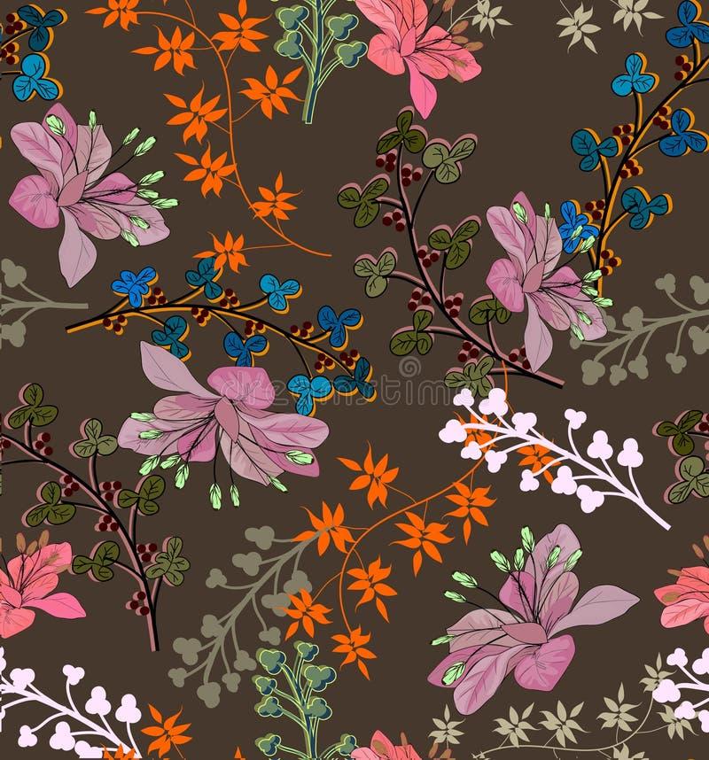 Sömlös modell med nätta blommor och pilbågar på brunt royaltyfri illustrationer