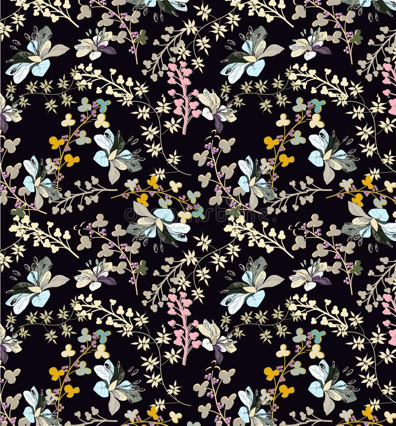 Sömlös modell med nätta blommor och pilbågar på svart royaltyfri illustrationer