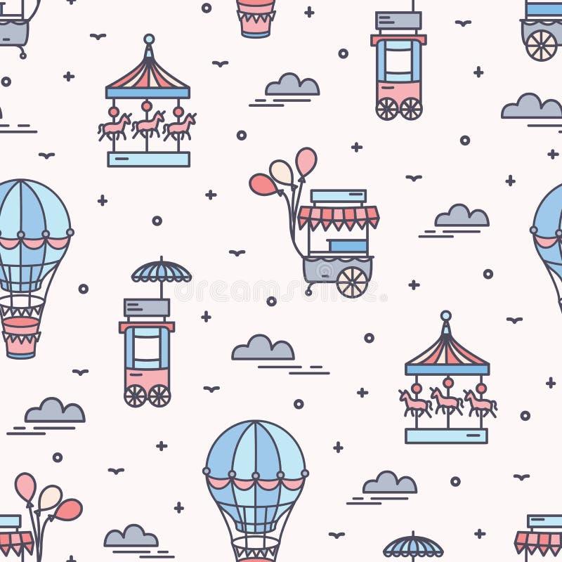 Sömlös modell med nöjesfältdragningar Bakgrund med karuseller, matvagnar och luftballonger Färgrik vektor stock illustrationer