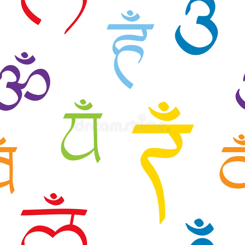 Sömlös modell med namn av chakras i sanskritiskt stock illustrationer