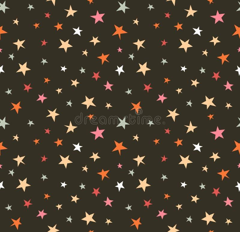 Sömlös modell med natthimmel och färgrik hand drog stjärnor stock illustrationer
