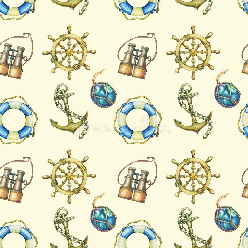 Sömlös modell med nautiska beståndsdelar som isoleras på pastellgulingbakgrund Gammalt binokulärt, livboj, antik segelbåtstyrning stock illustrationer