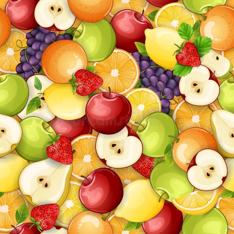 Sömlös modell med nya frukter royaltyfri illustrationer