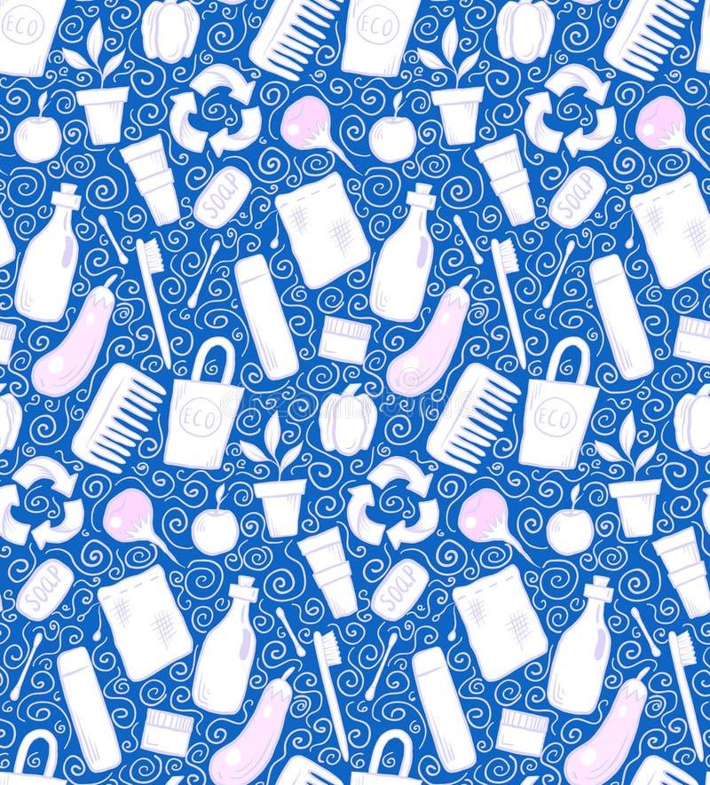 Sömlös modell med objekt och virvlar för hand utdragna nollförlorade på blå bakgrund Vektorklottertextur royaltyfri illustrationer