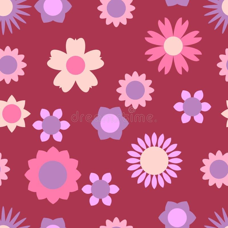Sömlös modell med olika blom- beståndsdelar Färgrik illustration i stillägenheten royaltyfri illustrationer