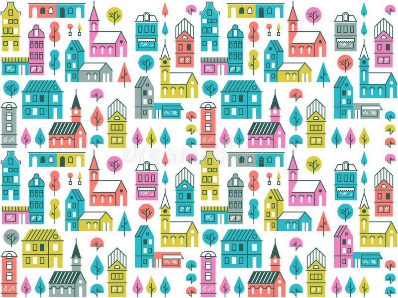 Sömlös modell med olika byggnader och träd Retro stads- bakgrund med hus, diversehandel och kyrkor stock illustrationer