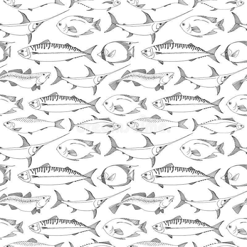 Sömlös modell med olika fiskar också vektor för coreldrawillustration royaltyfri illustrationer