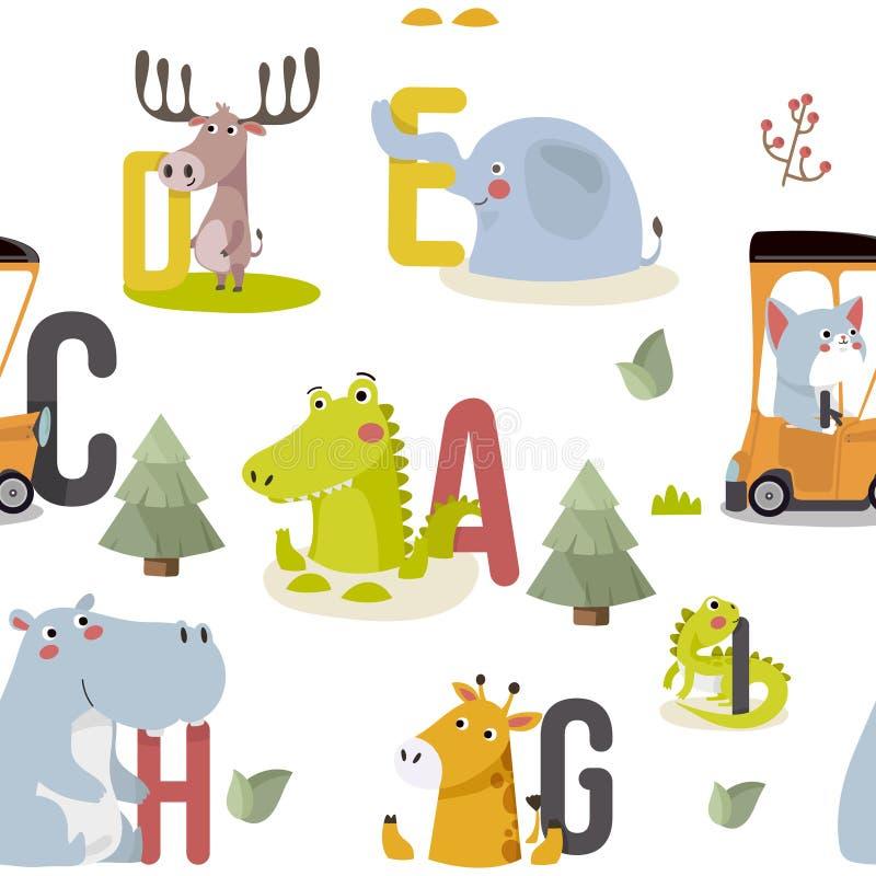 Sömlös modell med olika gulliga och roliga tecknad filmzoodjur på bakgrund stock illustrationer