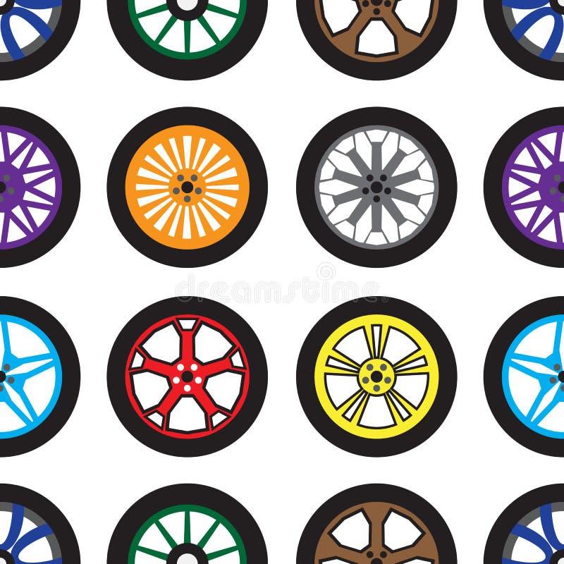 Sömlös modell med olika hjul på vit stock illustrationer