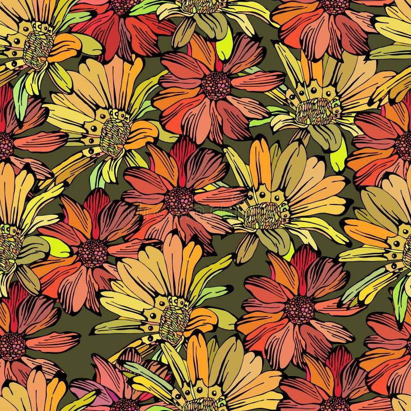 Sömlös modell med olika kulöra blommor stock illustrationer