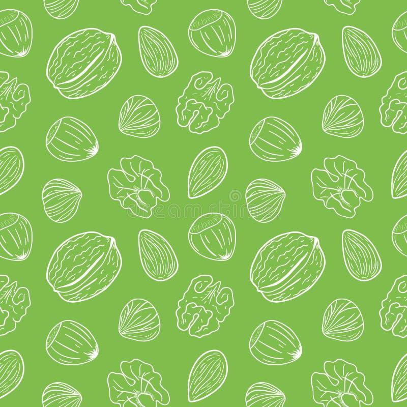 Sömlös modell med olika muttrar, helt och beskjutit Valnötter mandlar, hasselnötter Blandning av tokigt vektor illustrationer