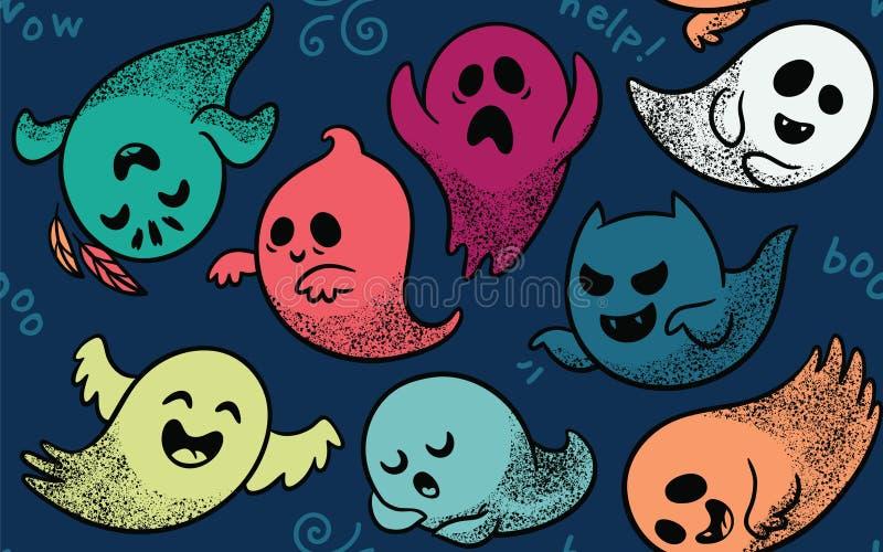 Sömlös modell med olika spöklika spökar stock illustrationer