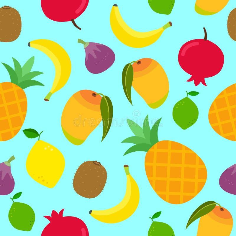 Sömlös modell med olika tropiska frukter på blå bakgrund vektor illustrationer
