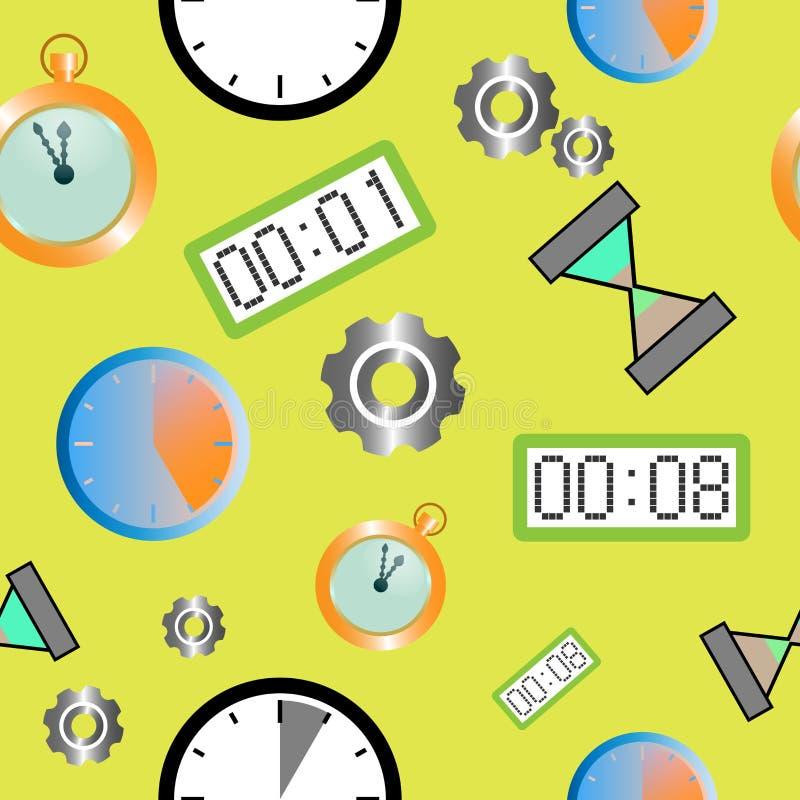 Sömlös modell med olika typer av klockor vektor illustrationer