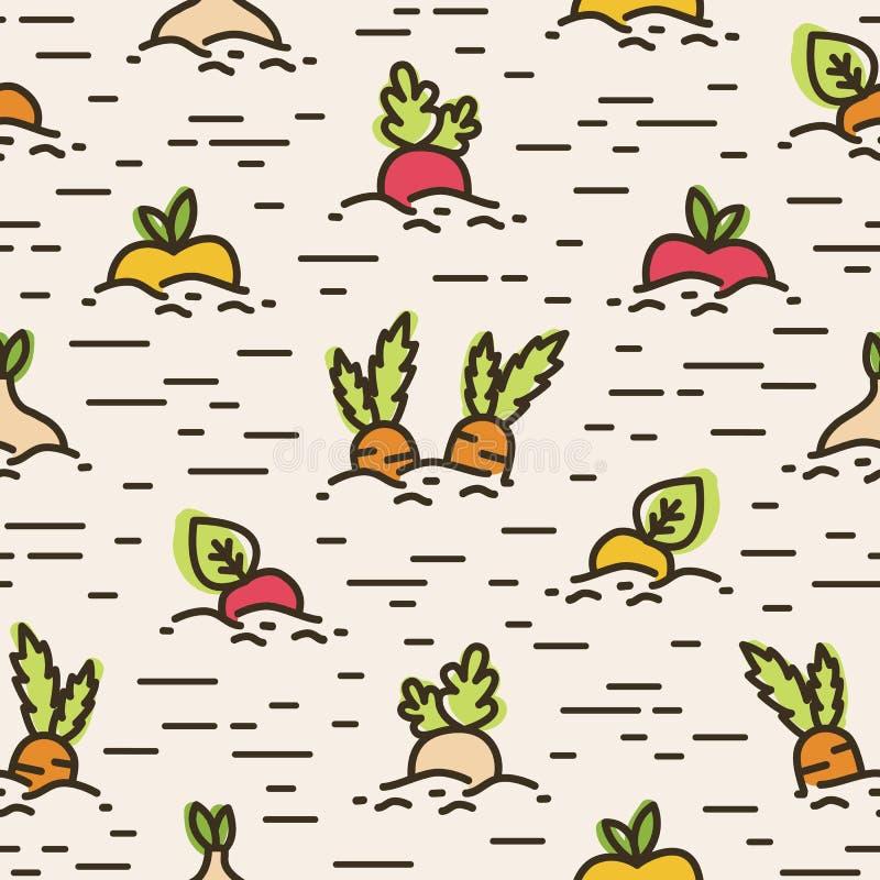 Sömlös modell med olikt kultiverat växa för grönsaker eller för skördar i jord Bakgrund med organisk hälsosam mat stock illustrationer