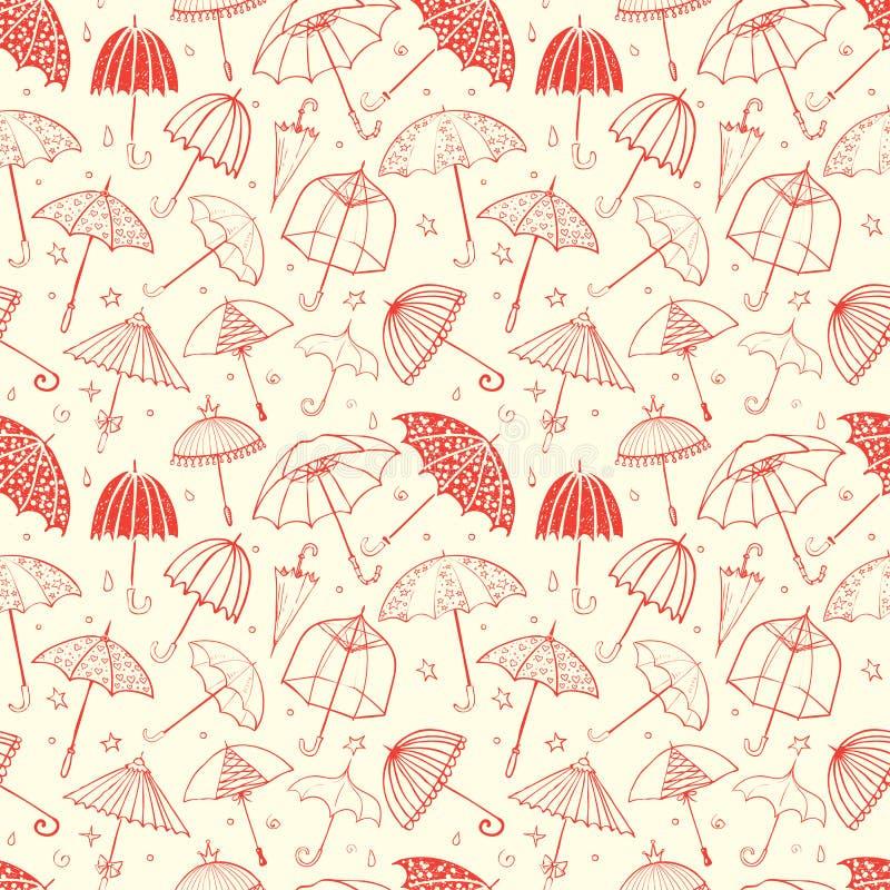 Sömlös modell med orange paraplyer Kan användas för tapeten, modellpåfyllningar, textilen, webbsidabakgrund, yttersida stock illustrationer