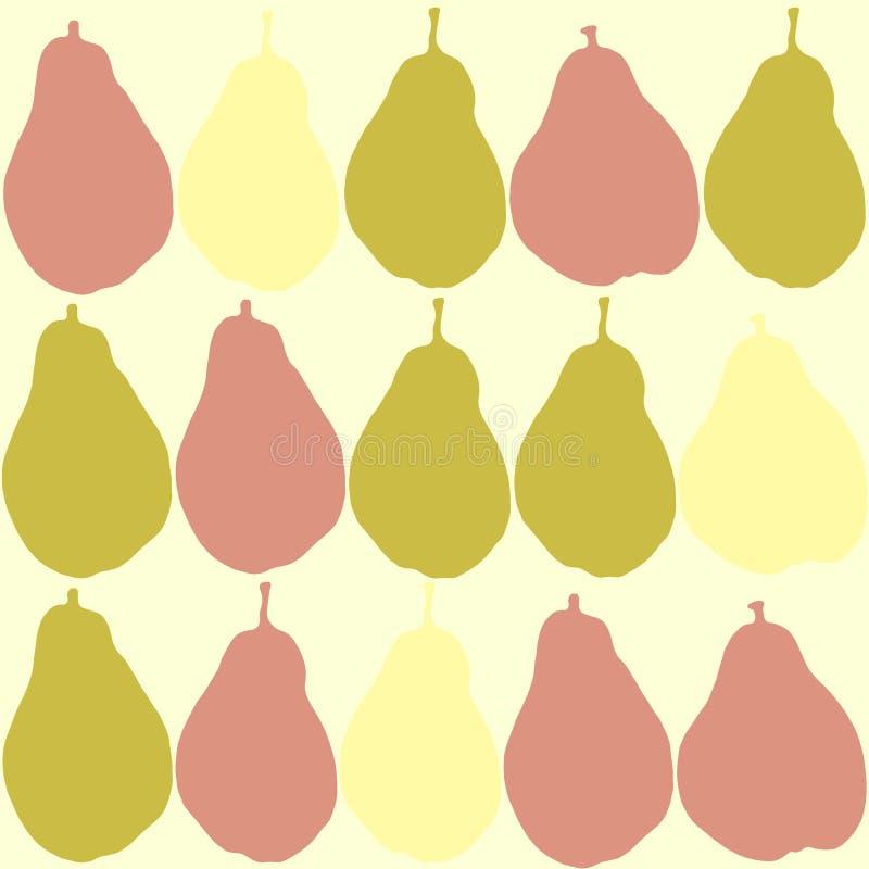 Sömlös modell med päronkonturer En kombination av rosa färger, gräsplan och guling stock illustrationer
