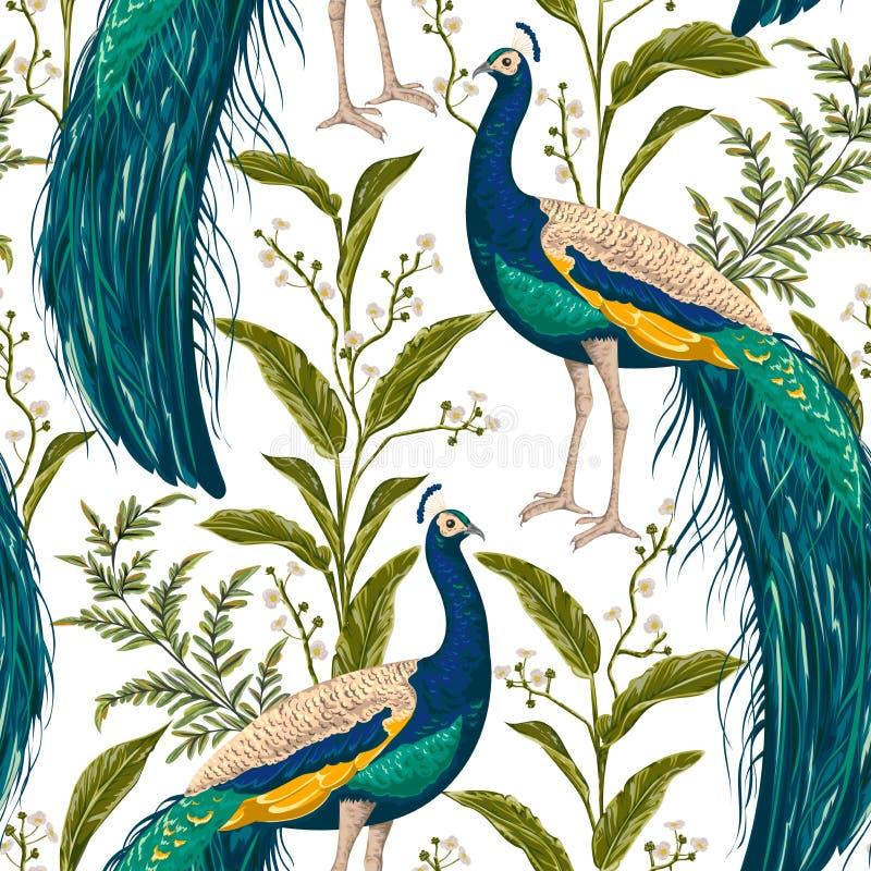Sömlös modell med påfågeln, blommor och sidor stock illustrationer