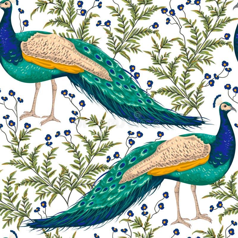 Sömlös modell med påfågeln, blommor och sidor vektor illustrationer