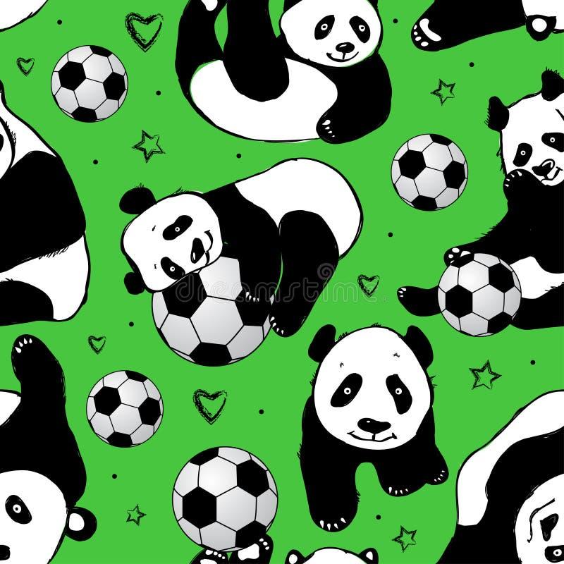 Sömlös modell med pandan teckningen hand henne morgonunderkläder upp varmt kvinnabarn stock illustrationer