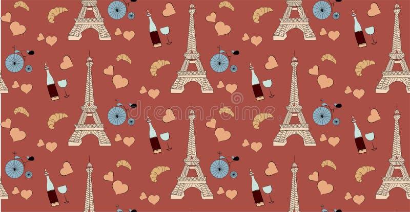 Sömlös modell med paris beståndsdelar, Eiffeltornflaska av vinhjärta och cykel vektor illustrationer