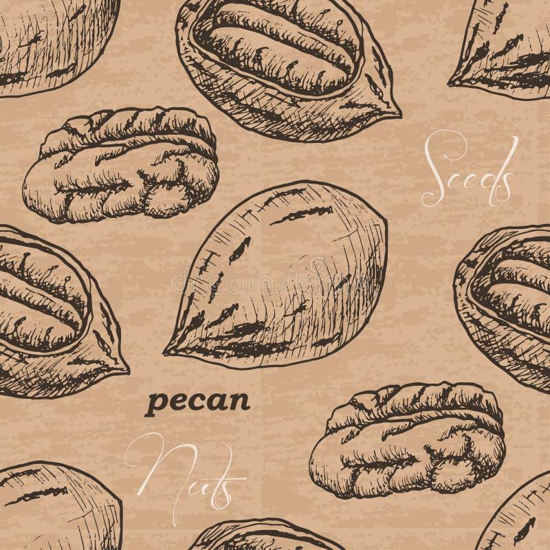 Sömlös modell med pecannöten på en tappningbakgrund stock illustrationer