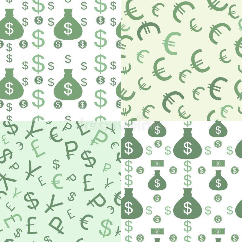 Sömlös modell med pengar stock illustrationer