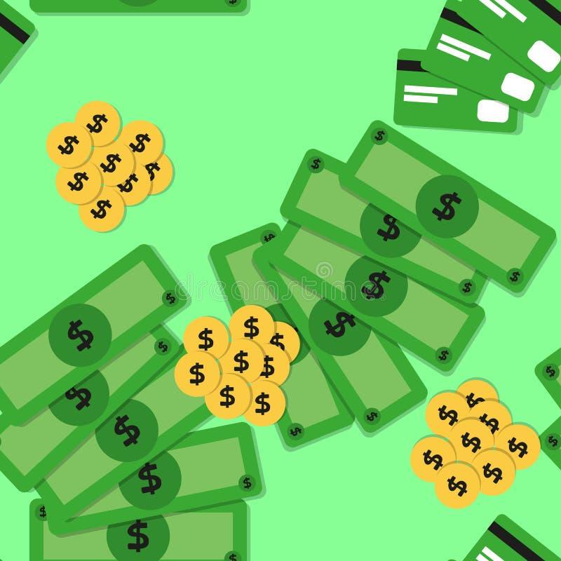 Sömlös modell med pengar - sedlar och mynt stock illustrationer