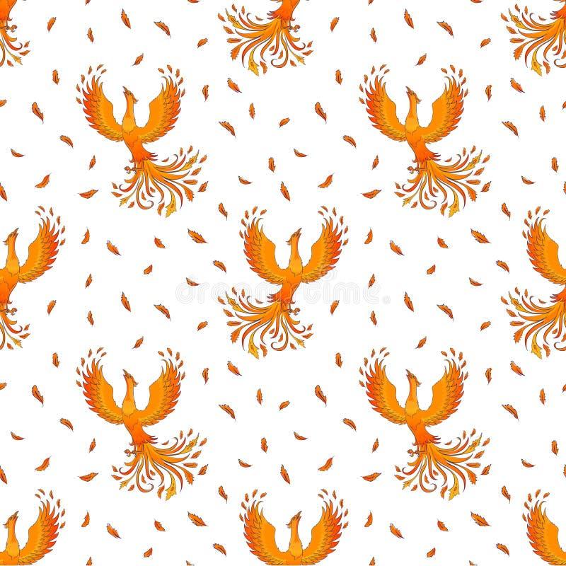 Sömlös modell med Phoenix på vit royaltyfri illustrationer