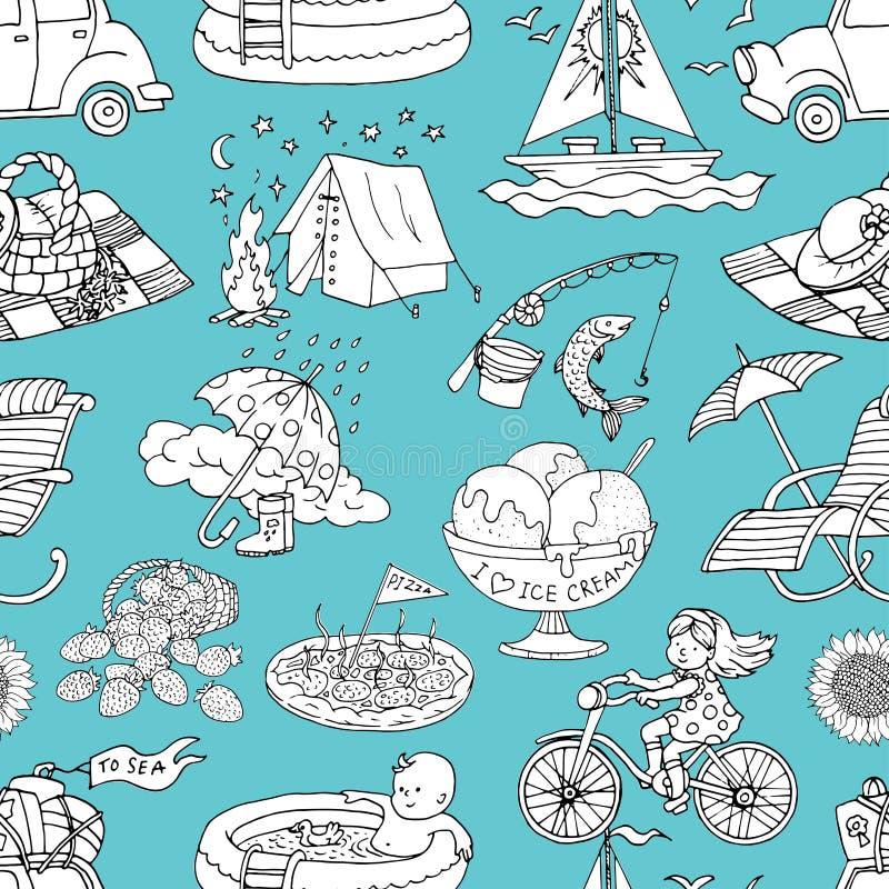 S?ml?s modell med picknicken, strandsemester och att campa och att resa begreppsobjekt p? bl?tt vektor illustrationer
