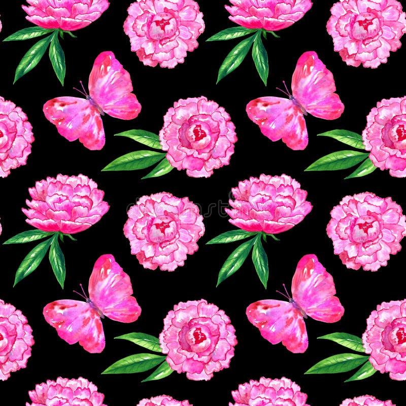 Sömlös modell med pioner och den rosa fjärilen Hand dragen vattenf?rgillustration Textur f?r trycket, tyg, textil vektor illustrationer