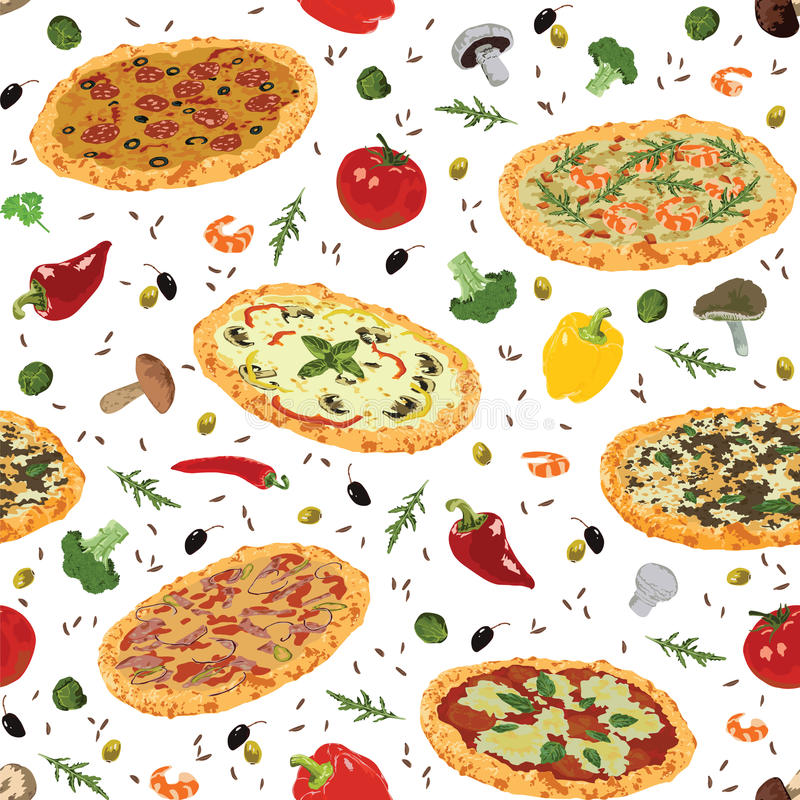 Sömlös modell med pizza vektor illustrationer