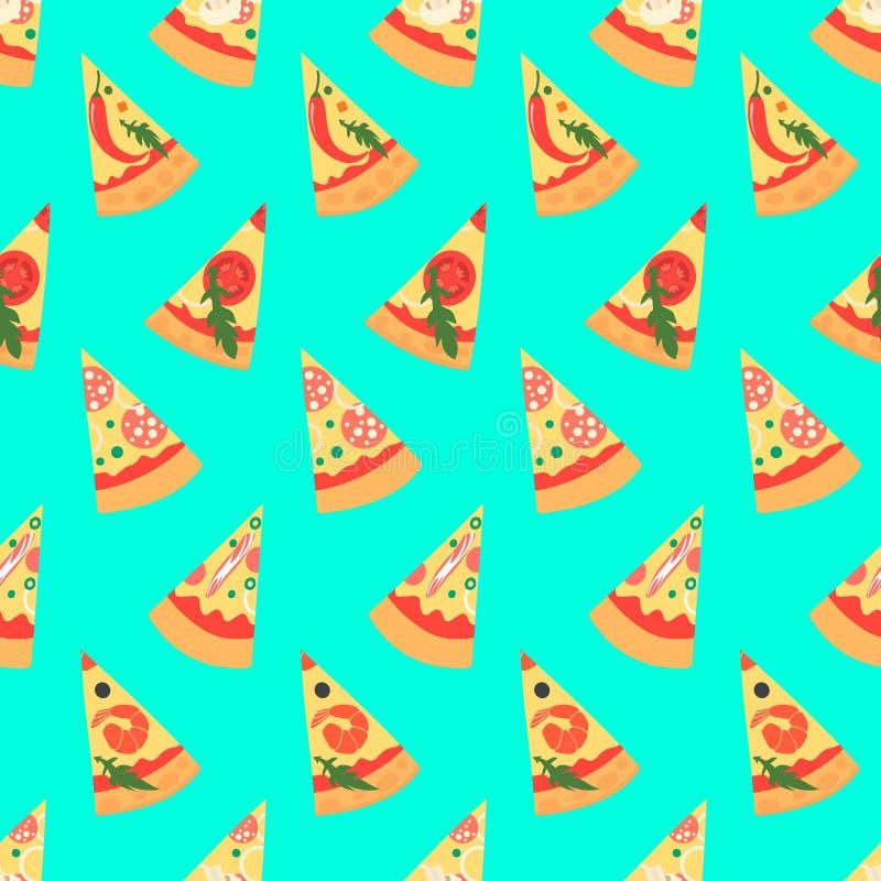 Sömlös modell med pizzamargheritaskivor också vektor för coreldrawillustration royaltyfri illustrationer