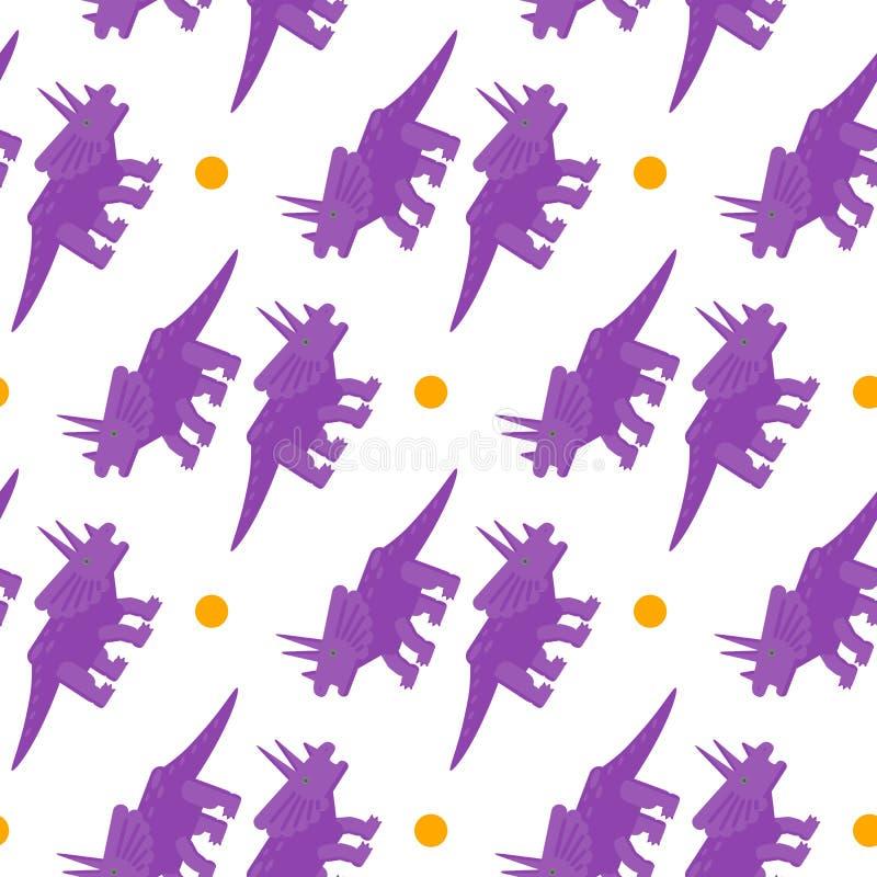 Sömlös modell med plana stilsymboler av triceratopsen Bakgrund med dinosaurien vektor illustrationer