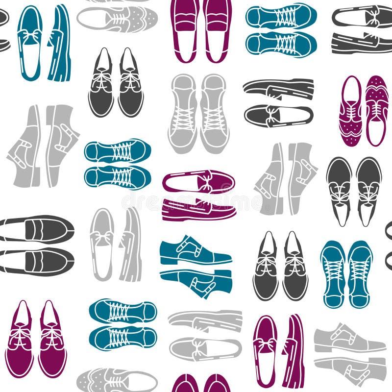 Sömlös modell med plana symboler av mäns skor stock illustrationer