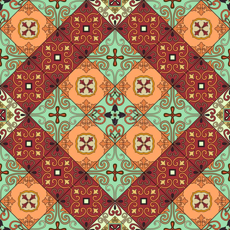 Sömlös modell med portugisiska tegelplattor i talavera stil Azulejo moroccan, mexikanprydnader vektor illustrationer