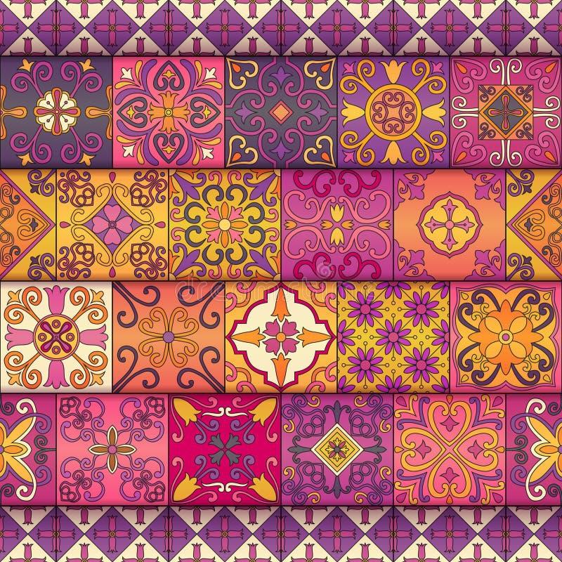 Sömlös modell med portugisiska tegelplattor i talavera stil Azulejo moroccan, mexikanprydnader stock illustrationer