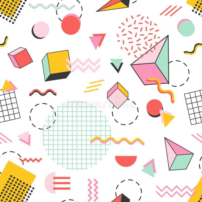 Sömlös modell med pyramider, kuber, cirklar, andra geometriska former och sicksacklinjer på vit bakgrund vektor stock illustrationer