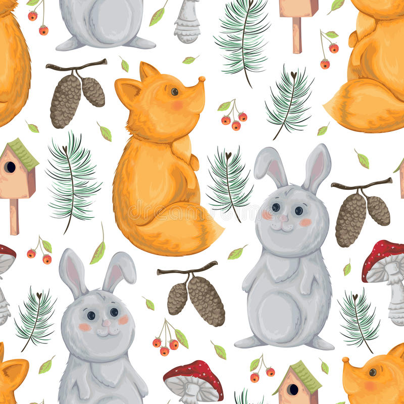 Sömlös modell med räven, kanin, voljären, flugsvamp, spursekottar och bär vektor illustrationer