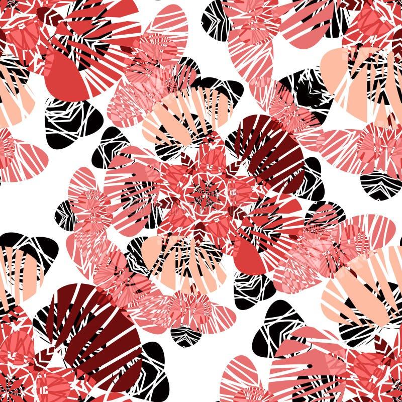 Sömlös modell med röda blommaknoppar royaltyfri illustrationer
