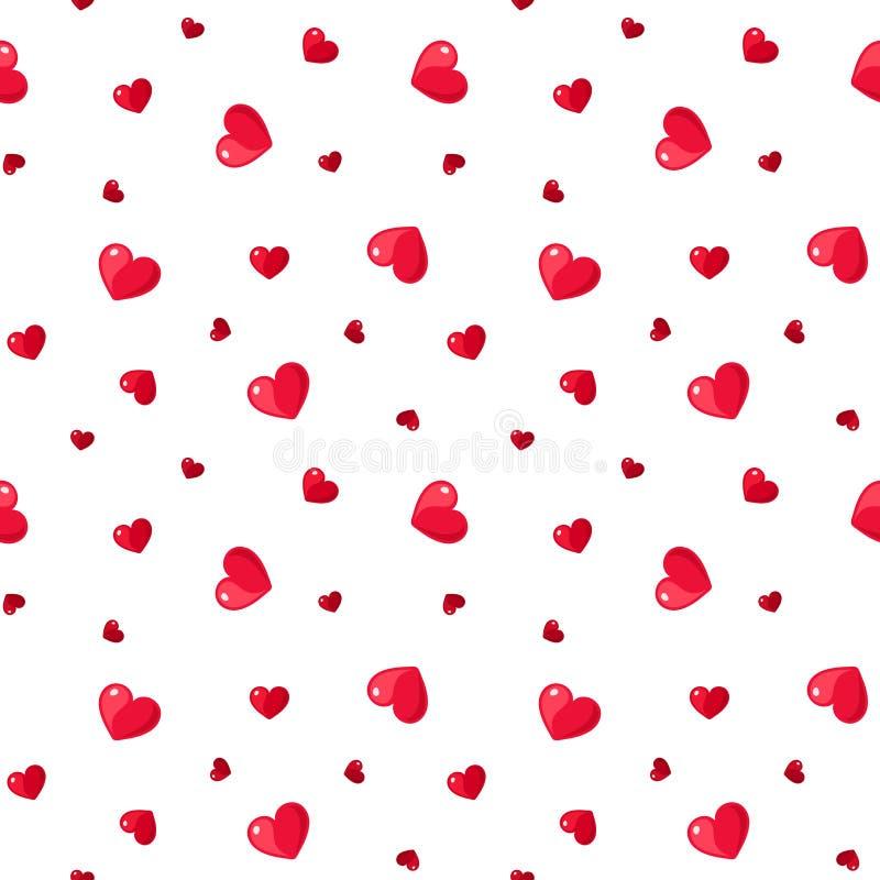 Sömlös modell med röda hjärtor. stock illustrationer