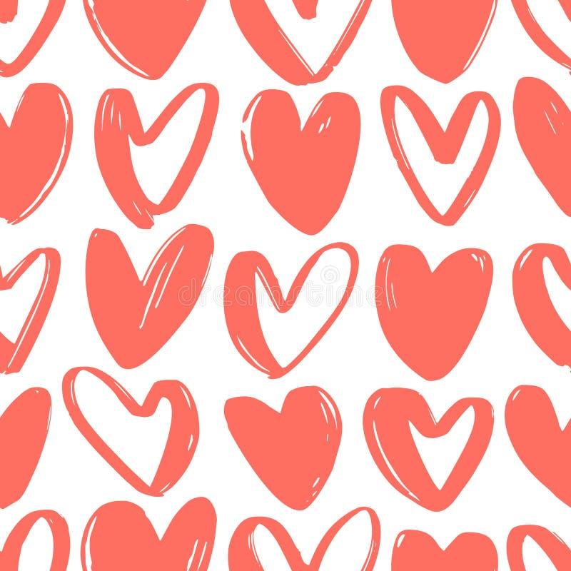 Sömlös modell med röda hjärtor som dras med grova konturlinjer på vit bakgrund Valentin dagbakgrund med förälskelse royaltyfri illustrationer