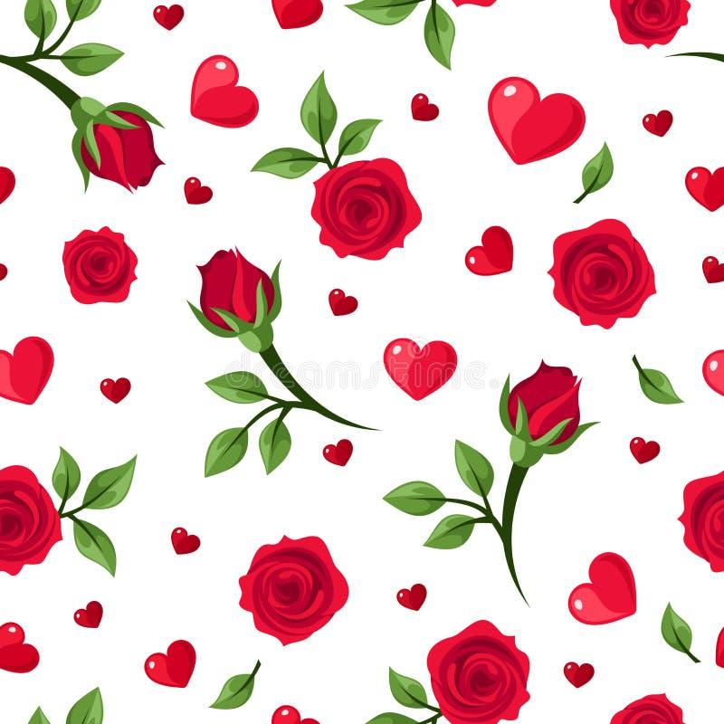 Sömlös modell med röda rosor och hjärtor på vit. vektor illustrationer